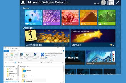 Windows 10 build 10130, showing Microsoft's new Solitaire Collection