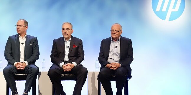 HP execs Mike Nefkens, Antonio Neri, and Robert Youngjohns