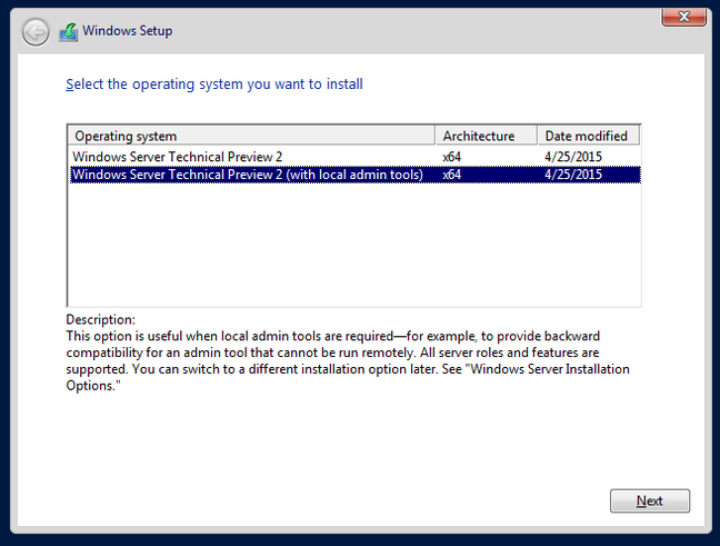 Installation options for Windows Server 2016