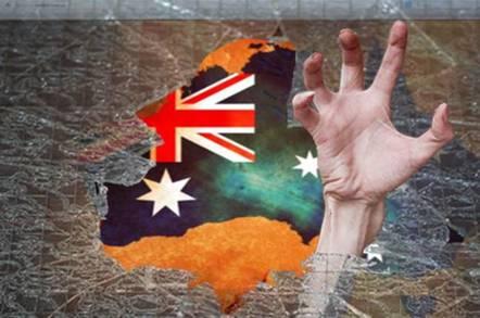 Australia map and flag pwned theme