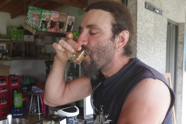 Fernando drinks a shot of The Reaper