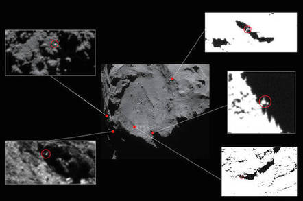 Approximate locations of five lander candidates initially identified in high-resolution OSIRIS Narrow Angle Camera images taken in Dec 2014. Image credit: ESA/Rosetta/NavCam
