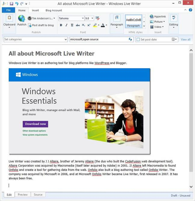 Windows Live Writer is to be open source