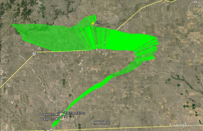 The PRATCHETT flight path as seen on Google Earth