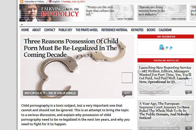 Rick Falkvinge thinks possession of child abuse images should be decriminalised
