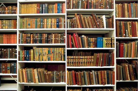 Bookshelf in the British Library basement