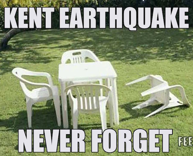 Plastic garden chair on back - text Kent Earthquake - Never Forget