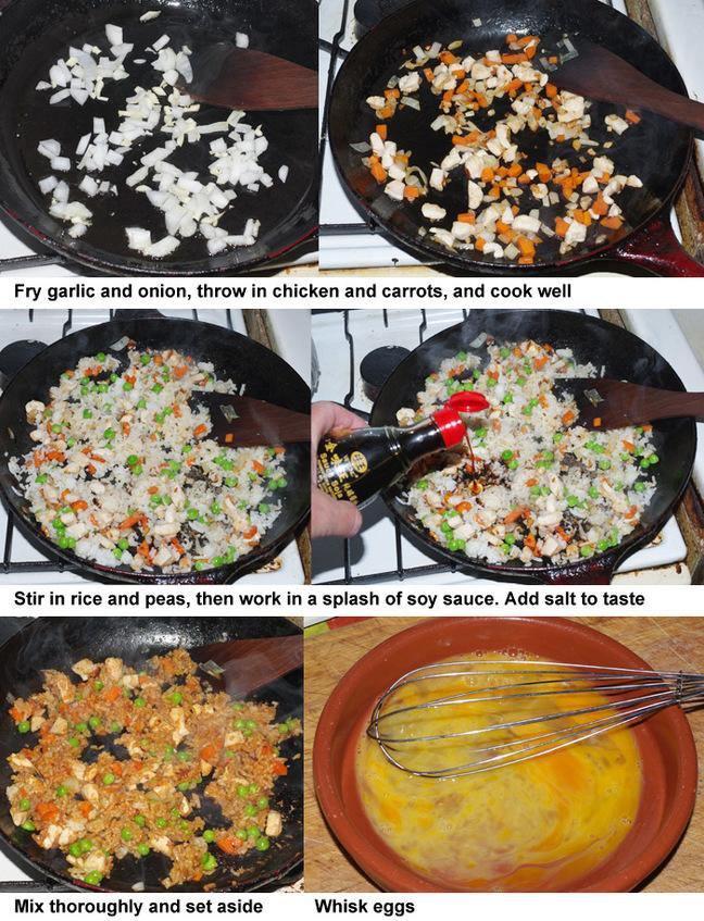 The first six steps in making nasi goreng pattaya