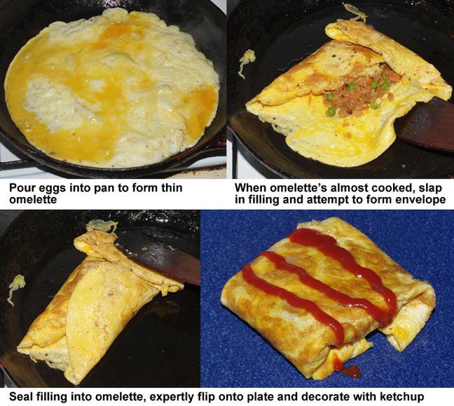 The final four steps in making nasi goreng pattaya