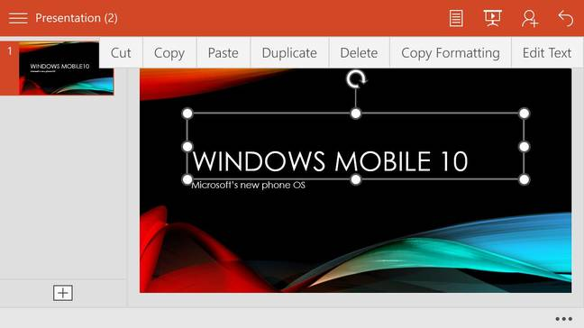 PowerPoint on Windows 10 Mobile