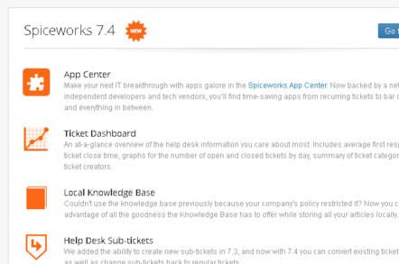 Spiceworks welcome to 7.4 banner