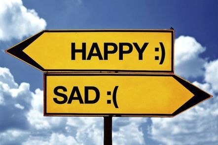 Signpost saying Happy Sad