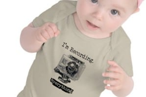 """Baby in t-shirt - with logo """"I'm recording everything"""""""