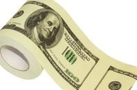 Toilet roll printed with fake US $100 bills