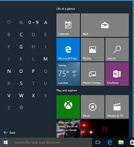 Now you can click a letter to search the Windows 10 All Apps menu