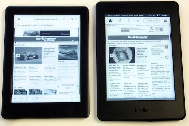 Kobo Glo HD and Kindle Paperwhite, web browsing
