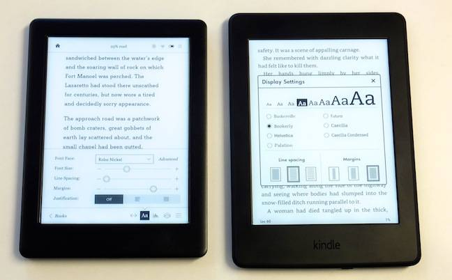 Kobo Glo HD and Kindle Paperwhite, font options