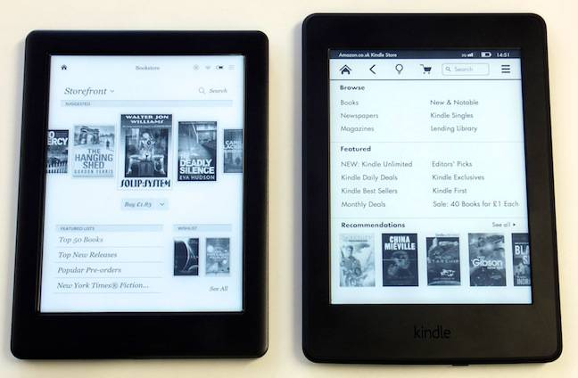 Kobo Glo HD and Kindle Paperwhite, built in store fronts