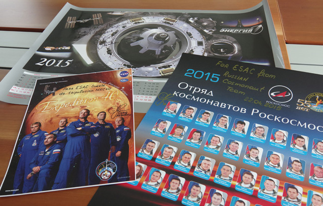 Calenders signed by Russian cosmonaut Oleg Artemiev