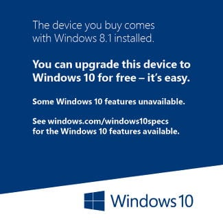Windows 10 Update sticker for new PCs