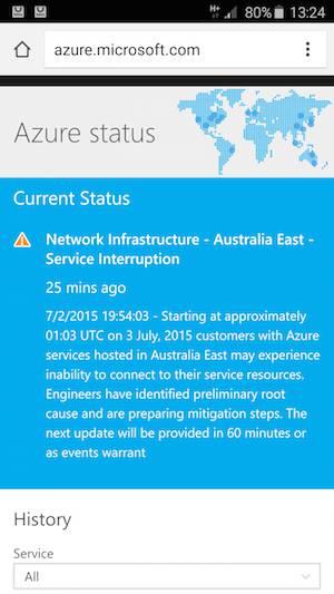 Azure outage australia