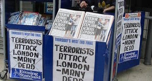 7/7 London bombings headlines. Pic credit: Elly Waterman under cc 3.0