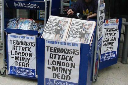 7/7 London bombings headlines. Pic credit: Elly Waterman under cc 3.0