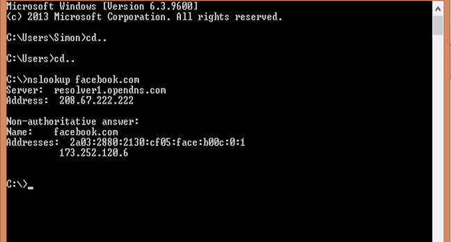 The dns entry for Facebook says it's face:b00c