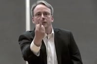 Linus Torvalds flips the bird