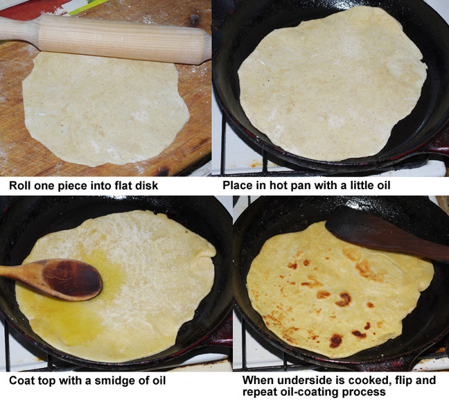 The second four steps in preparing the chapatis