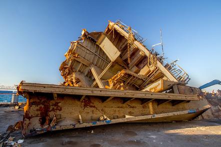Ship scrapyard photo via Shutterstock