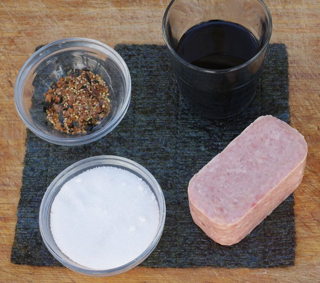 The ingredients required for the second part of the Spam musubi recipe