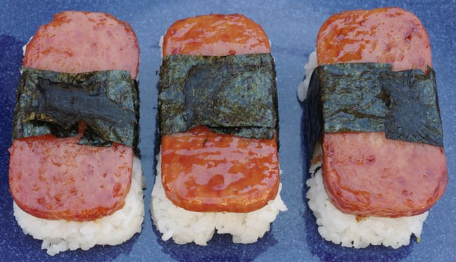 Spam musubi on a plate