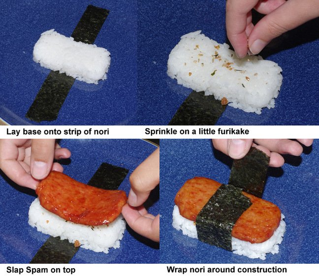 The final four steps in preparing Spam musubi