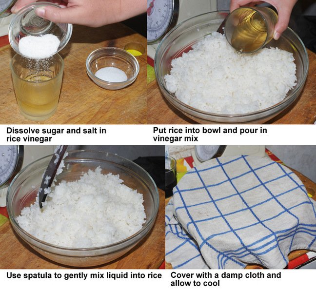 The second four steps in preparing sushi rice