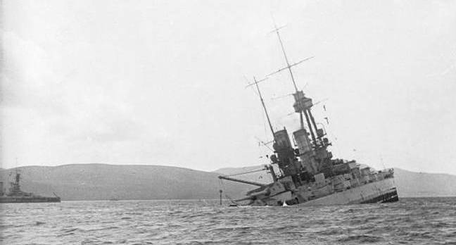German battleship sinking at Scapa Flow