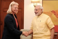Ginni Rometty calling on the Prime Minister, Shri Narendra Modi, i