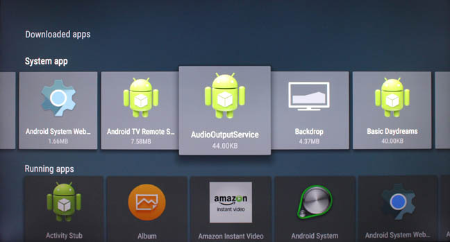 Android TV downloaded apps