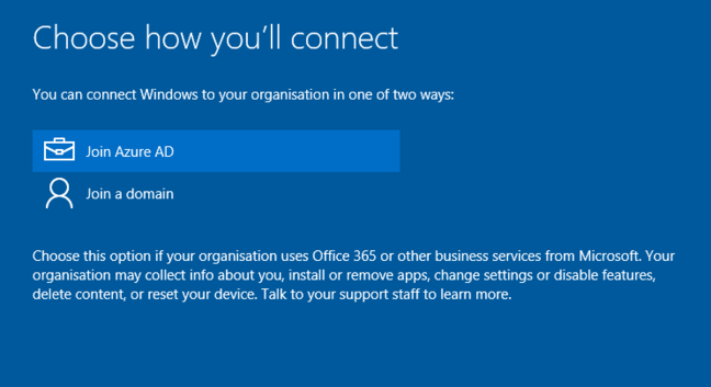Azure AD sign-in on Windows 10