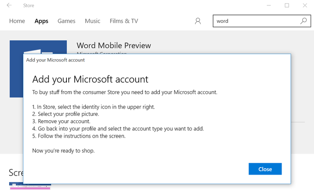 Want to use the Windows Store? You'll need a Microsoft Account