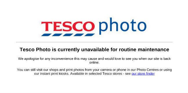 Tesco photo outage