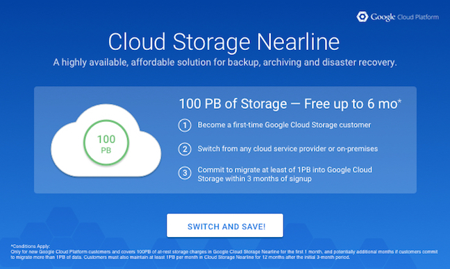 100PB of free nearline storage from google
