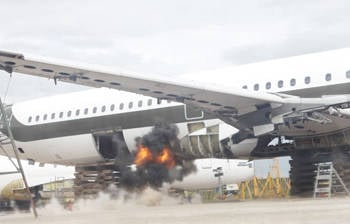 Controlled bomb blast on an aircraft. Pic credit: University of Sheffield