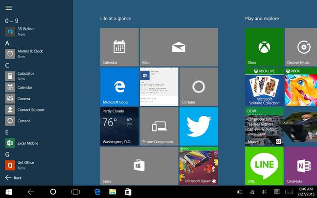 The All Apps menu in Windows 10