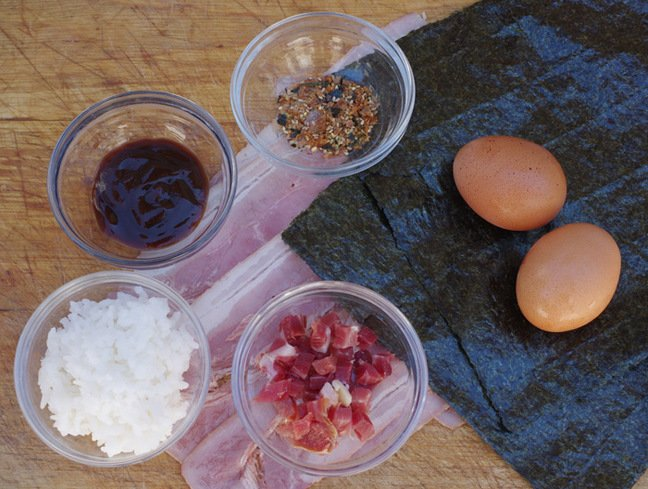 The ingredients required for our bacon and egg sushi