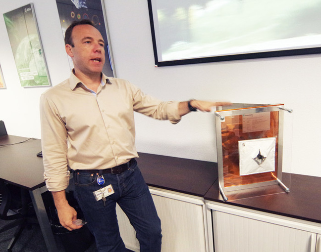 Emmet Fletcher demonstrates the damage a 6mm piece of aluminium can to to a spacecraft's skin