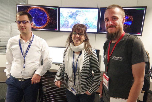 Matt poses with Space Situational Awareness operatives Mihai Ghita and Beatriz Jilete