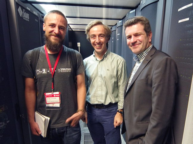 Matt with Ruben Alvarez and Christophe Arviset in the Library of the Universe