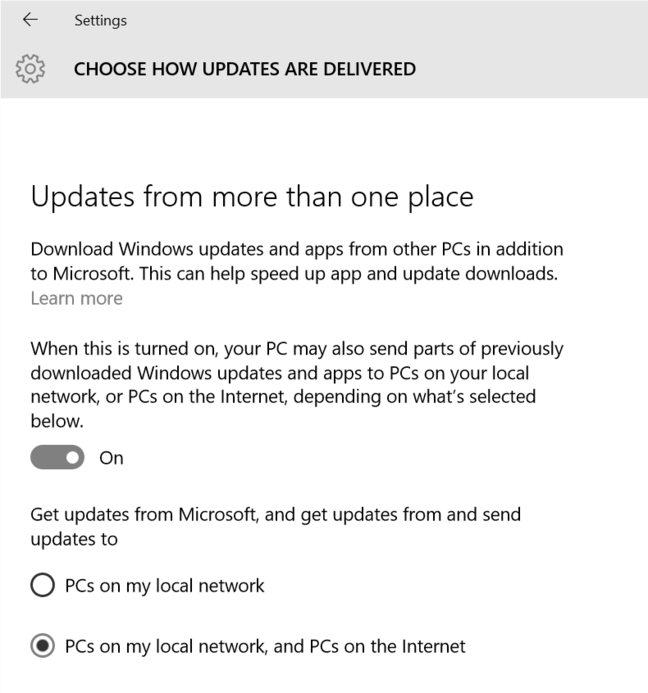 Peer to peer updates by default in Windows 10