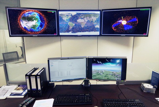 Bank of monitors in the Space Situational Awareness room